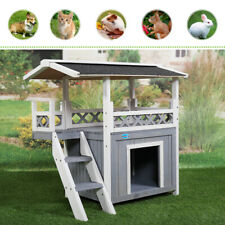 Wood 2-Tier Dog Pet House Shelter Roof Cat Condo with View Deck Balcony