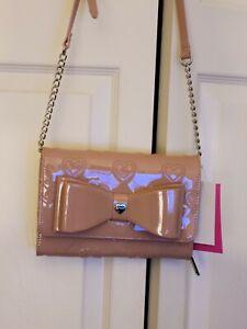Betsey Johnson Crossbody Wallet  On A String Bow  handbag purse PINK  NWT