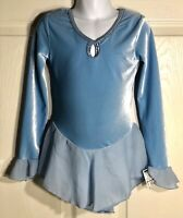 GK BLUE VELVET ICE FIGURE SKATE CHILD SMALL LgSLV WRIST RUFFLE FOIL DRESS Sz CS