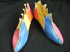 HOLLYWOOD SANDALS Vtg 60-70s Gold/Multi Color Leather Ankel Boots-5 to 5.5N