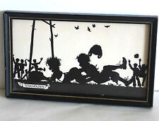 Original Frame 1930s TOUCHDOWN Silhouette Art by Buckbee Brehm FREE SH