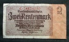 OLD BANK NOTE OF THIRD REICH GERMANY 2 RENTENMARK 1937 NO. C78874050