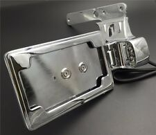 Chrome Side Mount Skull License Plate Bracket w/ LED Fit Harley SuperLow XL883L