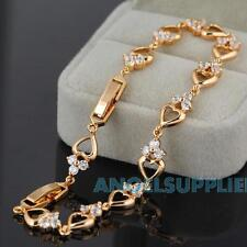18K Gold Plated Bracelet Crystal Heart Bangle Chain Fashion Women Jewelry Chain