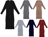Ladies Warm Knitted Maxi Front Pocket Side Slit Duster Cardigan UK Size 8-14