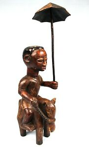 Art Africain Tribal - Rare Cavalier Colon Adjoukrou avec Ombrelle - 47,5 Cms