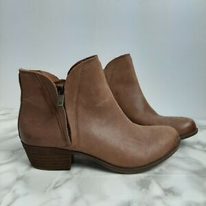 Lucky Brand Tan beige camel Leather booties with heel size 6.5 zipper