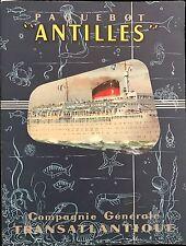 """PAQUEBOT ANTILLES """" ÉCORCHÉ DEPLIANT  1955"""""""