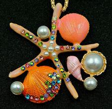 Jewel Necklace Pendant Brooch Pink Big Starfish Pearl Shells Rhinestone