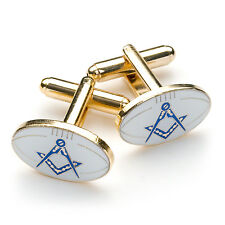 More details for quality white rugby ball design masonic cufflinks with square & compass