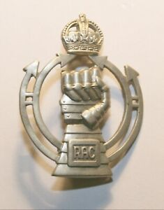 World War II White Metal Cap Badge, Royal Armoured Corp, Excellent Condition
