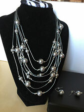 "QVC Silver Multi Strand Shell Pearl Necklace and Earring Set 18"" Long Chain"