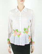 Johnny Was Women's White Button Down Shirt Top Embroidered Flowers S 8616 -HOLE