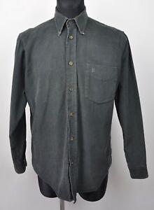DAKS Soft Cords Shirt Men'S 39 15.5 Corduroy Cotton Khaki Green Long Sleeved S
