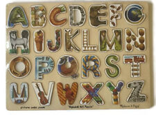 Melissa & Doug Alphabet Art Wooden Jigsaw Puzzle 26 Pieces Hidden Pictures Under