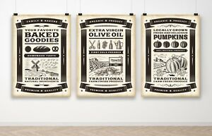 Set of 3 - Vintage Food Posters Farm Kitchen Art Poster Print A3 A2 A1 A0 Framed