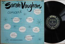 SARAH VAUGHAN CONCERT LP US MONO 1953 ALLEGRO EX