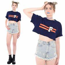 Vtg 90s RALPH LAUREN Hip-Hop Sporty POLO Grunge Boxy Cut Crop Top Half T-Shirt