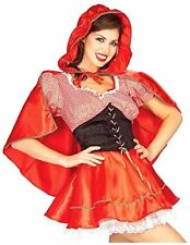 Little Red Riding Hood Adult Sexy Costume 3 Pc Red & Wht Dress Cape & Belt MD