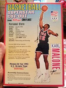 Karl Malone Kellogg's Corn Flakes USA Basketball Dream Team Cut Out (Small Box)