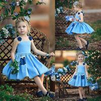 US Toddler Infant Kid Baby Girl Fancy Dress Princess Party Wedding Tutu Dresses