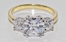 "SIZE O - YELLOW GOLD & SILVER ""MEGHAN MARKLE"" REPLICA 3 STONE ENGAGEMENT RING"