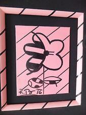 """SIGNED Romero Britto """"Untitled"""" PINK-ROSA ORIG. mano pezzo unico filet quadro"""