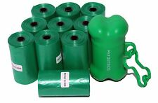 1800 Dog Pet Waste Poop Bags 90 Refill Rolls Green with FREE Dispenser