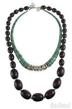 Jessica Simpson Earthly Treasure Teal Wood Bead Silver Tone  2 in 1 Necklace $58