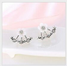 Silver Toner Daisy Flower Shell Front And Back Ear Stud Earrings Gift Box P29