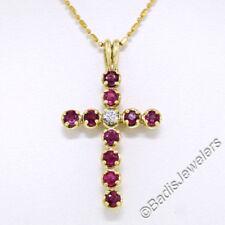 Collares y colgantes de joyería con gemas rojos de oro amarillo de 18 quilates