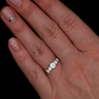 1.00tcw Created Diamond Ring 14K Solid White Gold 5-Stone Band Round Cut VVS1-