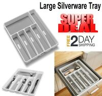 Silverware Drawer Organizer Tray Kitchen Storage Holder Flatware Cutlery Utensil