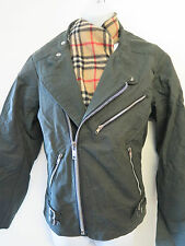 Re-engineered Tailored Barbour Waxed Cotton Shaped Biker Jacket UK 12 Euro 40