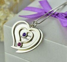 Halskette mit Gravur 925er Sterlingsilber Herz Namenskette Partnerkette Liebe 11