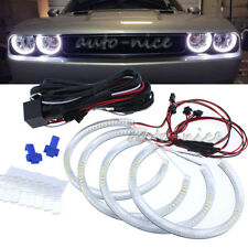 4X158MM LED Halo Rings White SMD For Dodge Challenger Headlight Angel Eyes Kit