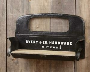 Truck Seat Wall Shelf in Distressed Black Metal and Wood