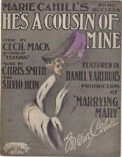 He's A Cousin of Mine, Marie Cahill in Marrying Mary antique Theatre sheet music