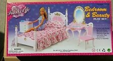 GLORIA FURNITURE Victoria BEDROOM Mirror Bench Vanity chair PLAYSET DOLLHOUSE