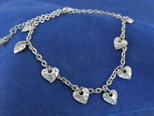 Ankle Bracelet Adjustable Silver Tone w 8 Hearts (1237)