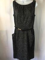 Woman's Jones Wear Career/Work Print Lined Dress w/ belt Gray Black EUC Size 8