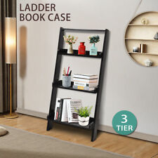 3 Tier Wooden Wall Rack Leaning Ladder Shelf Unit Bookcase Display Home Decor BK