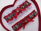 NEW Mossy Oak Camouflage Camo Red White Wedding Garter Prom Hunting Chick Deer