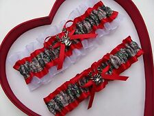 *NEW Mossy Oak Camouflage Camo Red White Wedding Garter Prom Hunting Chick Deer