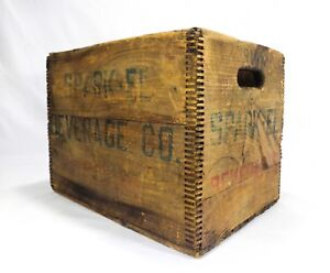 SPARK-EL BEVERAGE CO EARLY 20TH C VINT ADVERTISING WOOD BOX CRATE LEOMINSTER, MA