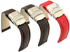 Leather Watch Strap Band Canyon Deployment Clasp 18mm 20mm 22mm 24mm 26mm