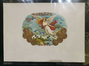 MANILA LA NOBLEZA CIGAR LABEL; ANGEL WITH GOLD COINS PRINT & EMBOSSED