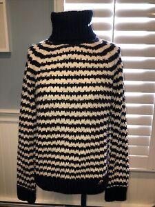 Vintage Tory Burch Women Sz L Sweater Blue/Cream Striped Wool Turtleneck