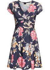 Jerseykleid mit Blumendruck Gr. 48/50 Dunkelblau Geblümt Mini Freizeitkleid Neu