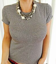 ZARA TRAFALUC WOMENS STRETCHY TOP BLOUSE STRIPED WORK COMFORT SZ M